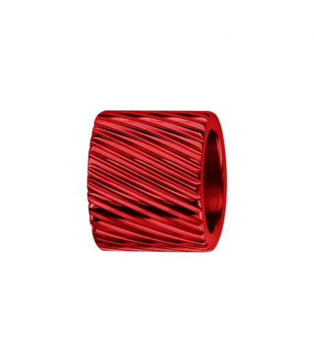 Charms ACIER forme TUBE STRIE Rouge