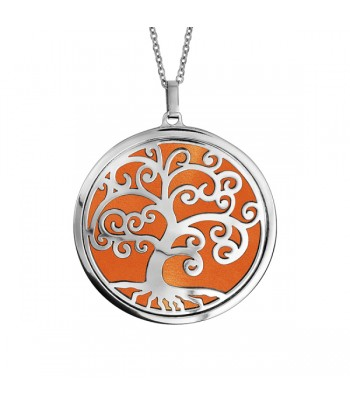 Collier ACIER arbre de vie orange