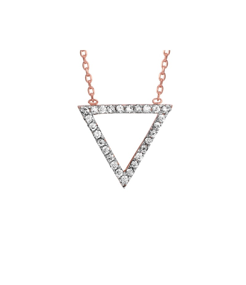Collier PLOR rose motif triangle oxydes